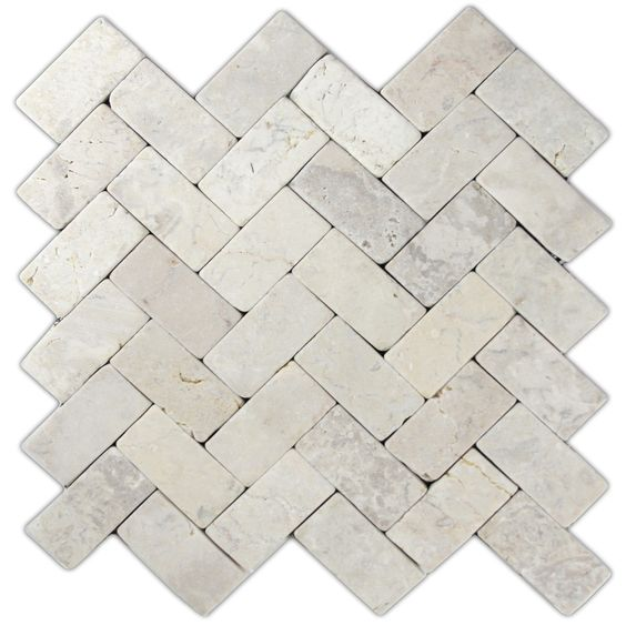 Cream herringbone stone mosaic tile... for the floor? for the island wall? for the backsplash?
