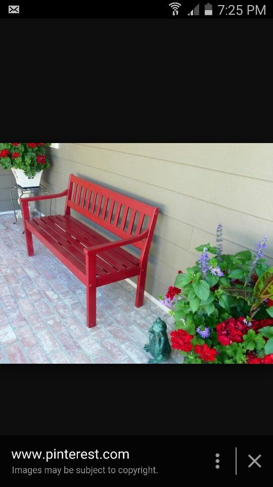 Red bench for front porch