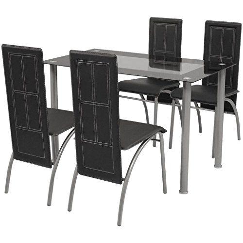 Vidaxl Black Metal 5 Pcs Dining Set Table 4 Chairs Kitchen Dining