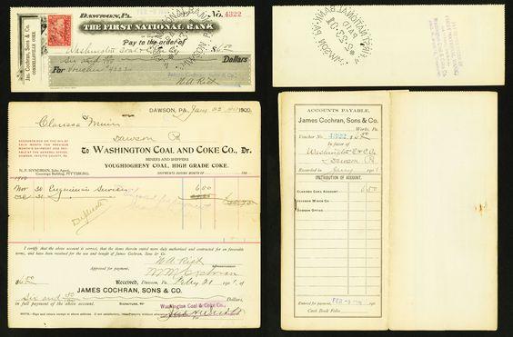 Dawson, PA- James Cochran, Sons & Co Check 1901; Dawson, PA- James Cochran, Sons & Co Receipt.