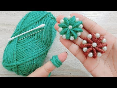 طريقة عمل وردة جميلة وسهلة التطريز اليدوي Easy Flower With Hand Embroidery Amazing Trick Yout Crochet Flower Tutorial Diy Yarn Crafts Fabric Flower Brooch