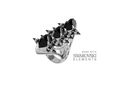 This stunning silver ring features an unique spike design which is inlaid with jet black Swarovski Elements.