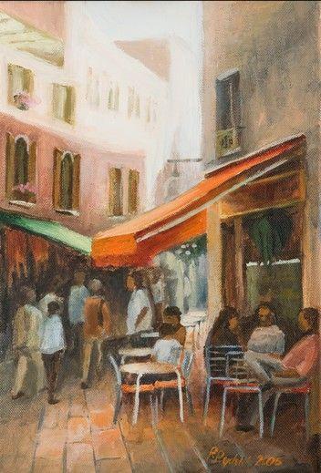 Cafe mit einer Orangen Markise in Ravigno