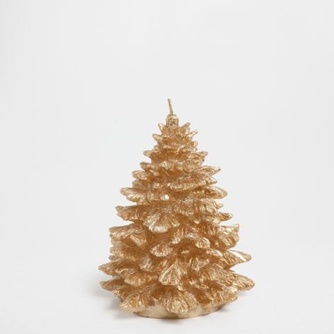 Gold christmas tree candle