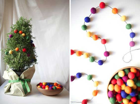Felt Ball Garland Crafting Pinterest Christmas trees, Happy