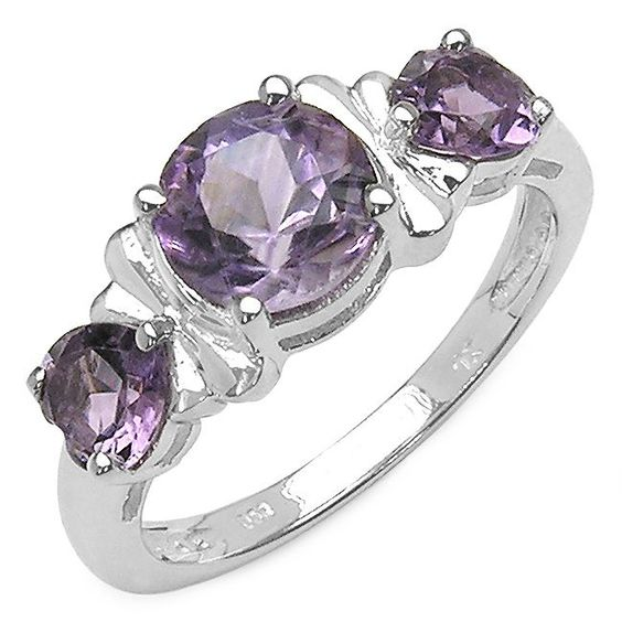 Olivia Leone Sterling Silver 2ct Amethyst Ring