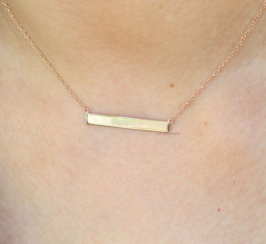 Gold Bar Necklace For Her Engraving Necklace 14k Gold Custom Name Necklace Personalized Name Necklace Initial Necklace 10k Solid Gold In 2020 Gold Bar Necklace Bar Necklace Initial Necklace