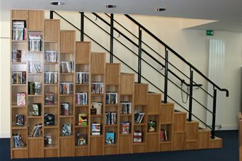 I need stairs and I need bookshelves in them.