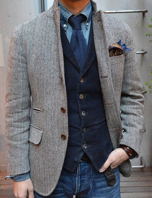 herringbone sport coat corduroy vest tie denim. Terrific (mis