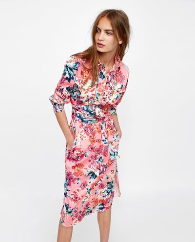 Image 2 Of Floral Print Shirt Dress From Zara Floral Shirt Dress Dresses Printed Shirt Dress