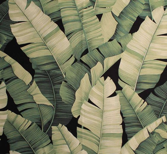 11 tropical leaf print barkcloth fabrics in 31 colorways - Retro Renovation