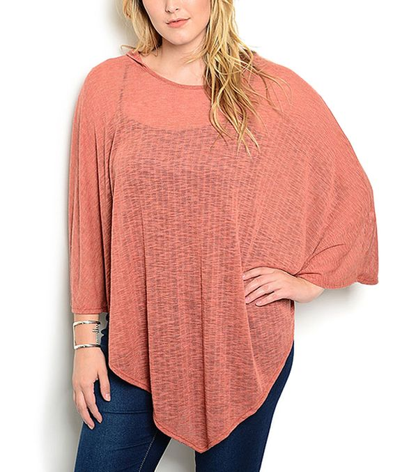 Look what I found on #zulily! Shop the Trends Rust Hooded Poncho - Plus by Shop the Trends #zulilyfinds
