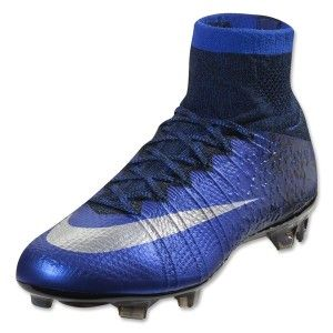 Nike Mercurial SuperFly IV CR7 FG Men's Soccer Cleats Deep Royal/Racer Blue/Metallic Silver Designed for Cristiano Ronaldo UPPER: Micro-textured Flyknit with NikeSkin for a barefoot feel.