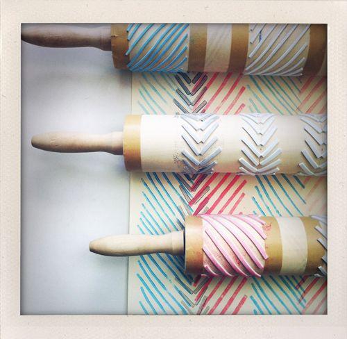 make rolling pin stamps: Diy Stamps, Pin Stamping, Diy Crafts, Wrapping Papers, Rolling Pins, Pin Stamps
