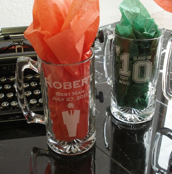 Two Custom Beer Steins by EtchedinTimeLLC on Etsy, $22.00