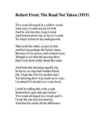 The Road Not Taken Poem Worksheet - Worksheets