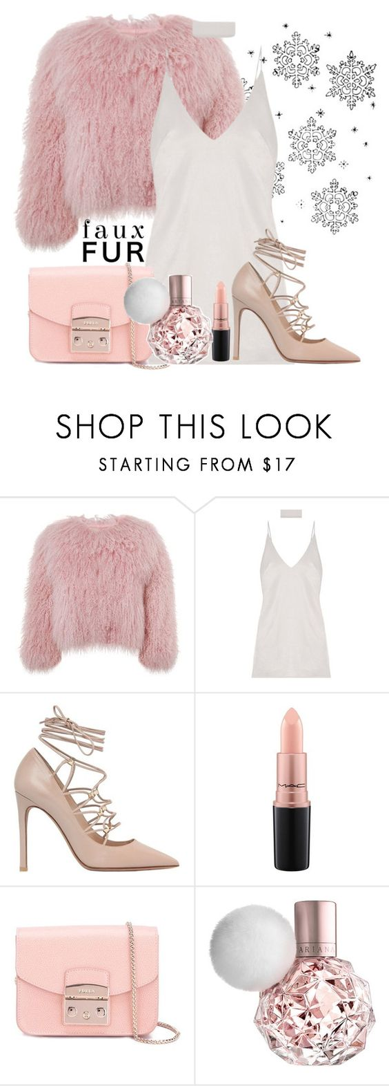 """Pink Faux Fur"" by athaliaaal ❤ liked on Polyvore featuring Charlotte Simone, Valentino, MAC Cosmetics and Furla"