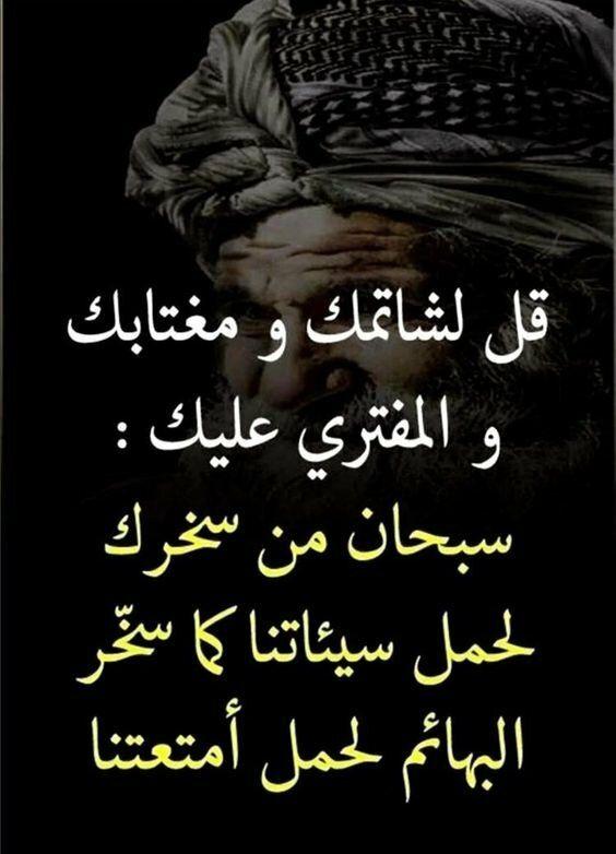 حكم اقوال رمزيات خلفيات قل لشماتك ومغتابك والمفتري عليك سبحان من حملك ذنبي Wisdom Quotes Life Quran Quotes Love Funny Arabic Quotes