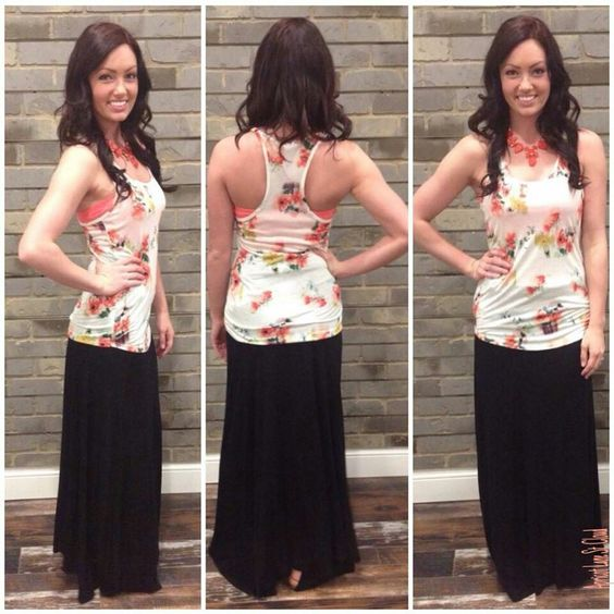 Ring Around A Rosie ‪#‎RAR4253‬ This floral print tank top is the perfect focal piece of your spring and summer outfit or as a pop of color under a cardigan this fall and winter. Floral Tank Top: $24 Bandeau: $10 Black Maxi Skirt: $32 Necklace: $30 Sandals: $45 To add this beautiful floral tank and fun outfit to your closet, fill out this form at http://form.jotform.us/form/42265697798173. For immediate assistance call us at 320-774-1533! We ship nationwide! Don't forget to follow us on…