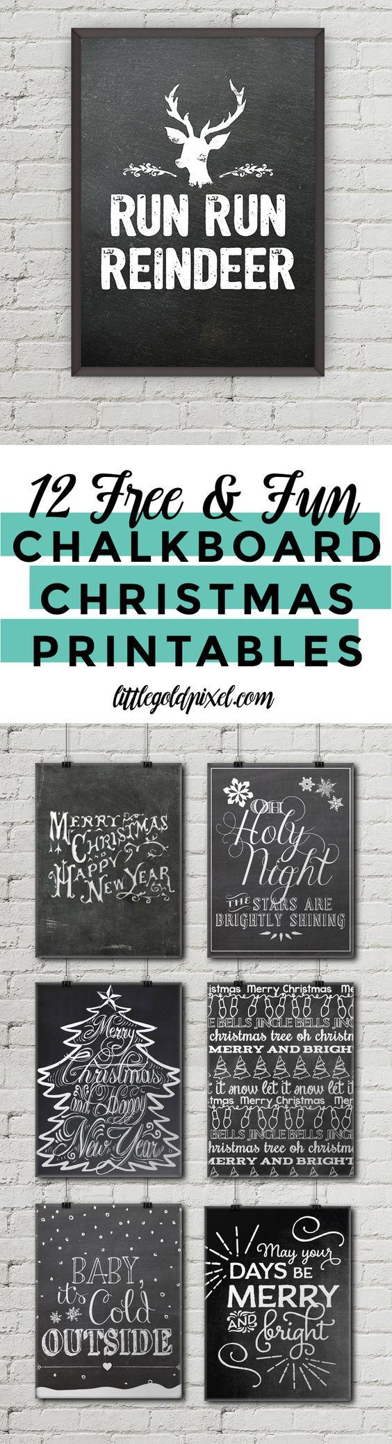 12 Free Chalkboard Christmas Printables • Little Gold Pixel