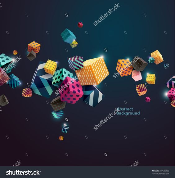 Multicolored Decorative Cubes. Abstract Vector Illustration. - 387685156…