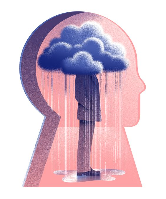 Finnie's image explores the idea that depression can feel like being under your own personal raincloud
