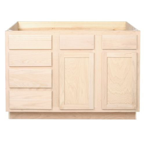 Easthaven Shaker Assembled 36x34 5x24 In Frameless Sink Base Cabinet With False Drawer Front In Unfinished Beech Eh3635s Gb Unfinished Cabinets Base Cabinets Cottage Kitchen Cabinets