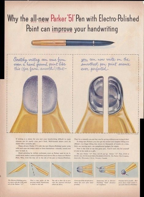 Parker 51 Pen With Electro-Polished Point 1954 Home Ad