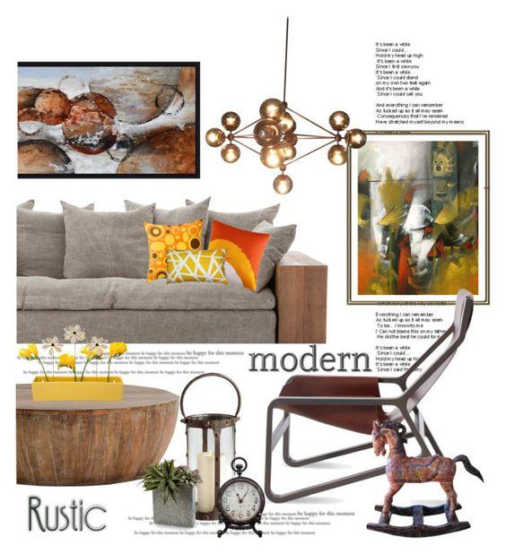 """Modern / Rustic Design . ."" by kateo ❤ liked on Polyvore featuring interior, interiors, interior design, home, home decor, interior decorating, NOVICA, Yosemite Home Décor, Blu Dot and Arteriors"