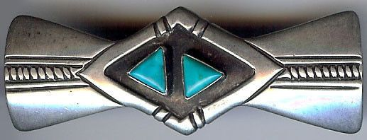 STRIKING VINTAGE HOPI INDIAN STERLING SILVER & TURQUOISE TRIANGLE SHAPES PIN