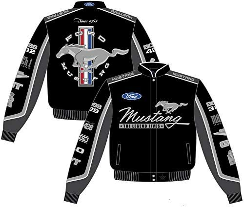 Enjoy Exclusive For Ford Mustang Collage Mens Black Twill Jacket