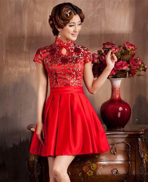 robe de mariage rouge courte ligne A: