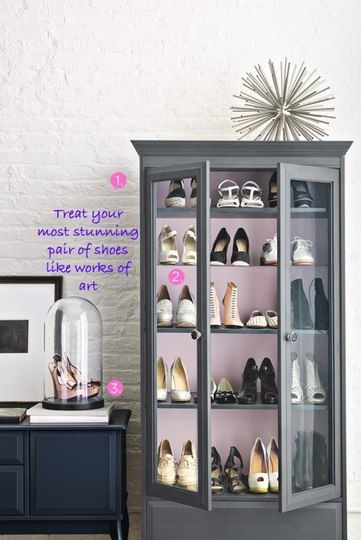 I LOVE this idea, but I'm sure my husband would not be thrilled.  After all, shoes are works of art and expensive.  Must do for a bachelorette pad!!!