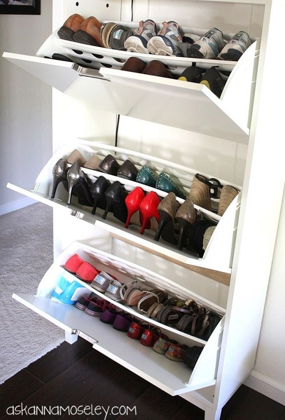 Shoe cabinet from IKEA plus keeping baby wipes with the