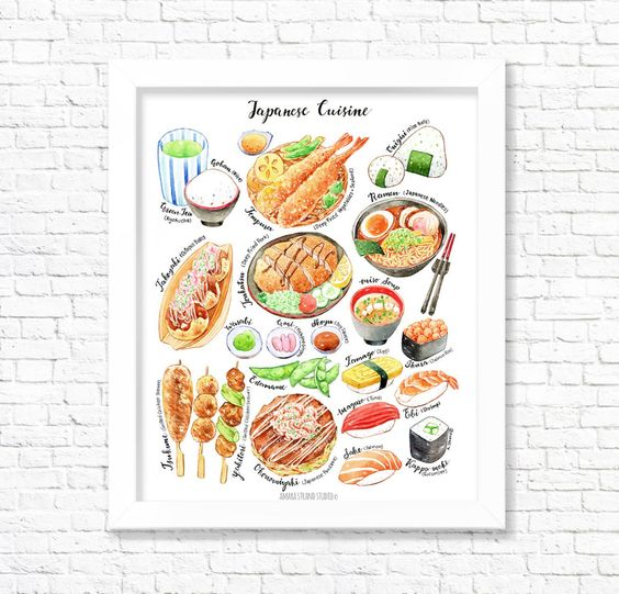 Japanese Cuisine Fine Art Print Food Poster Kitchen Wall Etsy In 2020 Food Print Food Poster Japanese Food Art