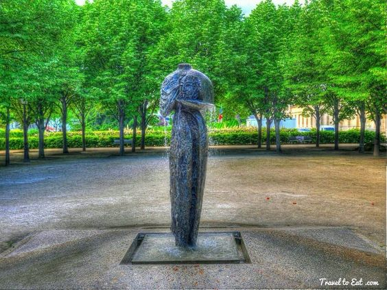 Water Fountain Dedicated to Victims of Terrorism by Nicolas Alquin 1998. Les Invalids, Paris