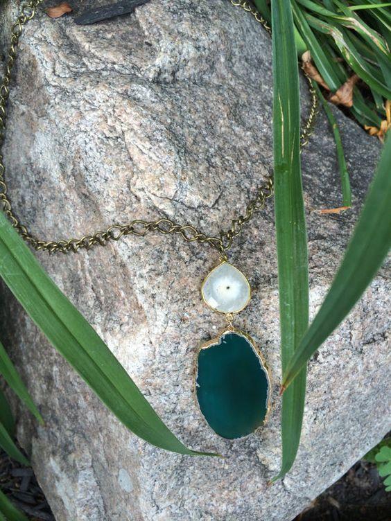Druzy and Quartz Pendant Necklace