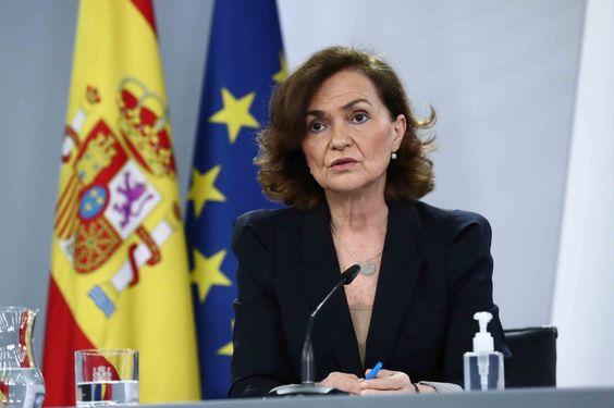 Carmen Calvo durante su comparecencia posterior al Consejo Ministros del 16 de febrero
