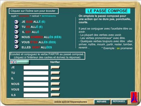 """passé composé du verbe """"aller"""" et """"partir"""""""