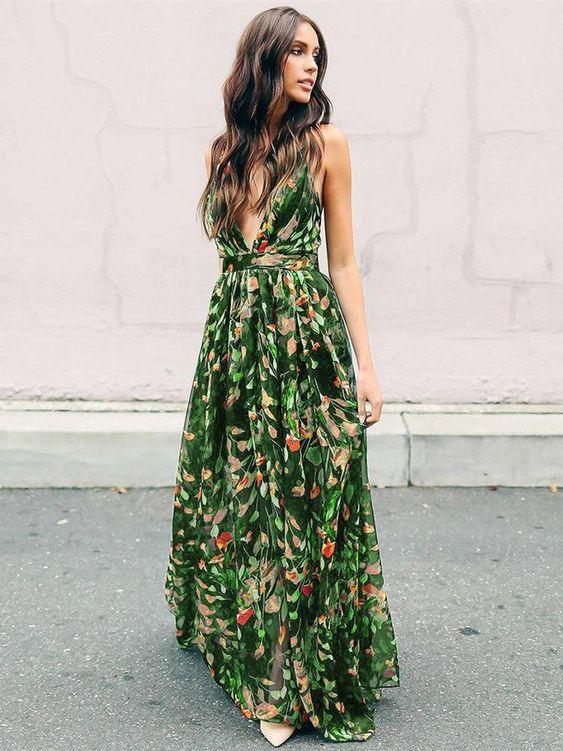 Bohemia Floral V Neck Backless Maxi Dress