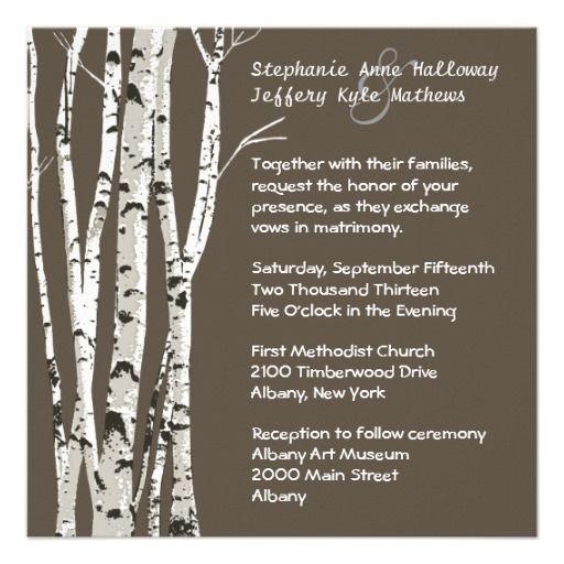 Elegant Brown with Birch Trees Wedding Invitation
