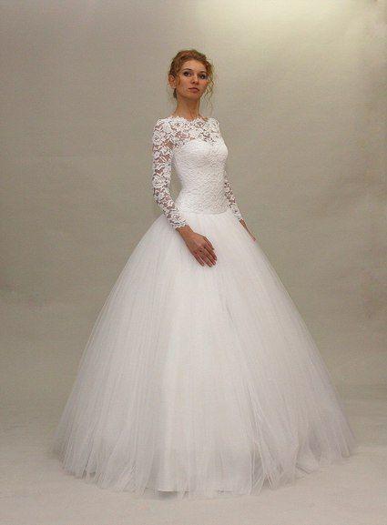 Robe de mariée manche longue en dentelle  Wedding dress  #mariage # ...