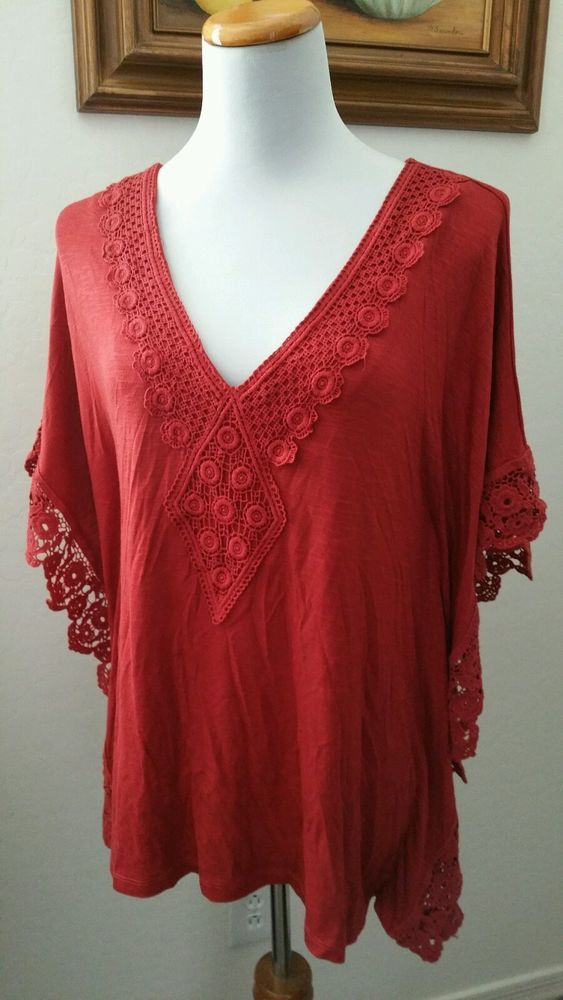 Forever dark orange embroidered batwing top size large NWT  #forever #KnitTop…