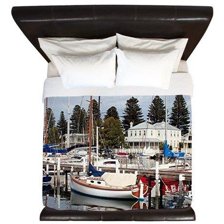 Yachts in marina, Port Fairy, Australia King Duvet on CafePress.com