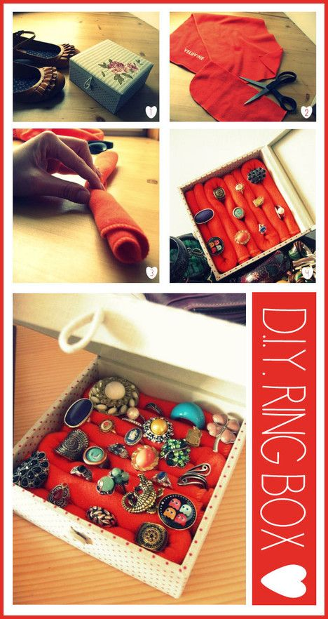 DIY Ring Box- my twist would be to make this be behind a picture frame in the bedroom to hide the jewelry!: