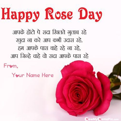 Romantic Shayari Rose Day Wishes Picture With Name Happy Rose