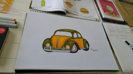 Copic marker rendering of a VW Beetle