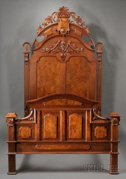 Victorian Renaissance Revival Carved Walnut and Burl Veneer Bed
