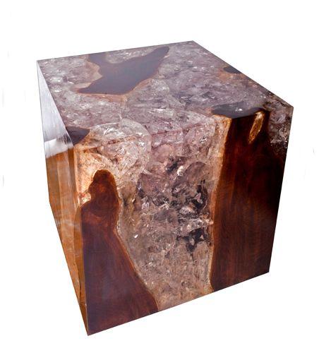 RP // andrianna shamaris cracked resin+teak cube