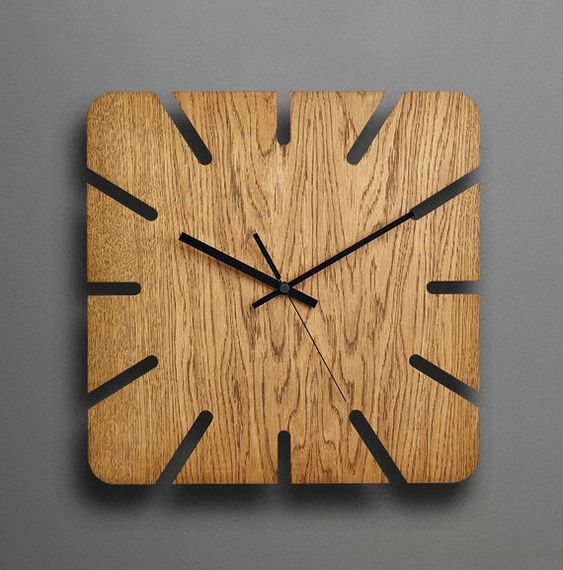 Wood Wall Clock Modern Wall Clock Unique Wall Clock Rustic Etsy Wood Wall Clock Wall Clock Wooden Diy Clock Wall